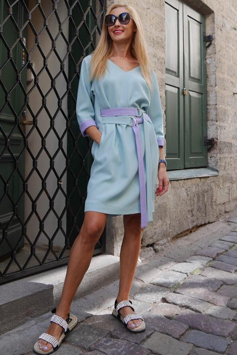 Mündiroheline kleit topeltvööga (S)
