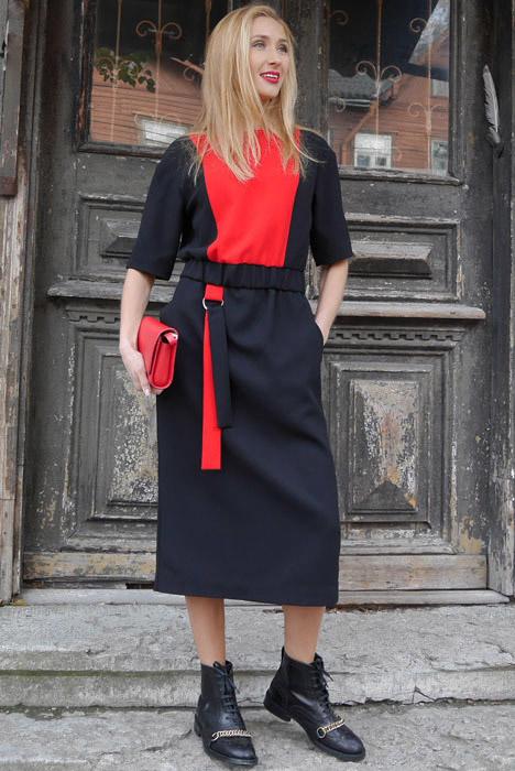 Must & punane kummiga kleit