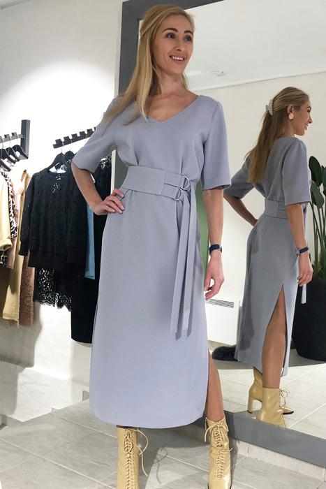 Hall kleit laia vööga (M)