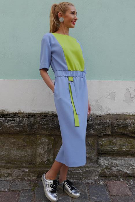 Helesinine&neoonroheline kummiga kleit (S)