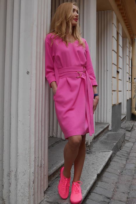 -20% Roosa kleit topeltvööga (M)