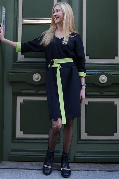 Must neoonrohelisega kleit topeltvööga (M)