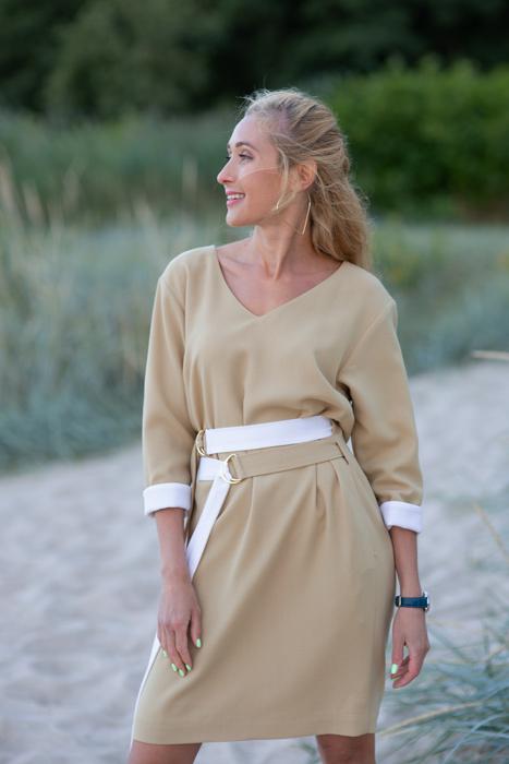Camel kleit topeltvööga (S)